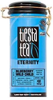 Tiesta Tea Blueberry Blueberry Wild Child, Hibiscus Fruit Tea, 50 Servings, 5.5 Ounce Tin - Caffeine-Free, Loose Leaf Herbal Tea Eternity Blend, Non-GMO