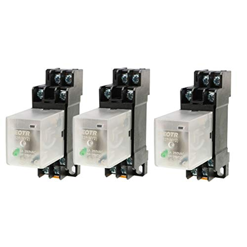 Relay 24v (uxcell 3Pcs HH52P DC 24V Coil Voltage 8Pin DPDT Power Electromagnetic Relay w Socket)