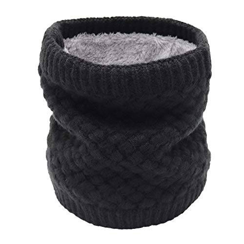Aiphamy Winter Fleece Lined Knitted Neck Warmer Neck Gaiter Scarf for Women Teens Girls Kids, Black (Cozy Fleece Scarf)