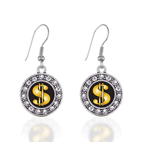 Inspired Silver - Dollar Sign Charm Earrings for Women - Silver Circle Charm French Hook Drop Earrings with Cubic Zirconia Jewelry