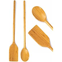 """Extra Long Handled Cooking Utensils - 16"""" Inch Wooden Mixing Spoon & Spatula - Stirring Paddle - Organic Bamboo Eco Friendly Biodegradable Wood Kitchen High Heat Resistant Great For Large Stock Pots"""