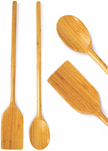 "Extra Long Handled Cooking Utensils - 16"" Inch Wooden Mixing Spoon & Spatula - Stirring Paddle - Organic Bamboo Eco Friendly Biodegradable Wood Kitchen High Heat Resistant Great For Large Stock Pots"