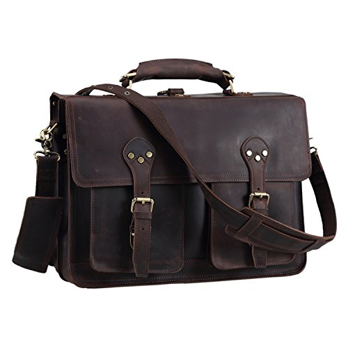 Texbo Thick Leather Vintage Shoulder Briefcase, 16 Inch Laptop Tote Bag by Texbo