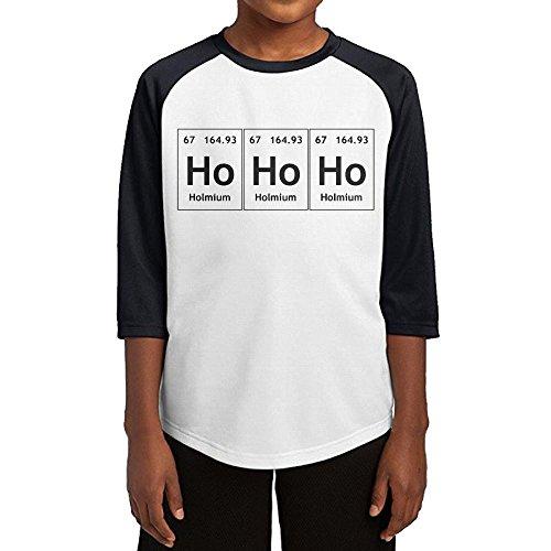 Paplo Child HoHoHo Holmium 3/4 Sleeve Baseball Raglan 100% Cotton T-Shirt Size M
