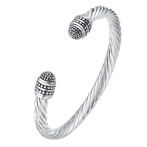 UNY Fashion Jewelry Brand Cable Wire Retro Antique Bangle Elegant Beautiful - Designer Bracelet Cable Silver Inspired