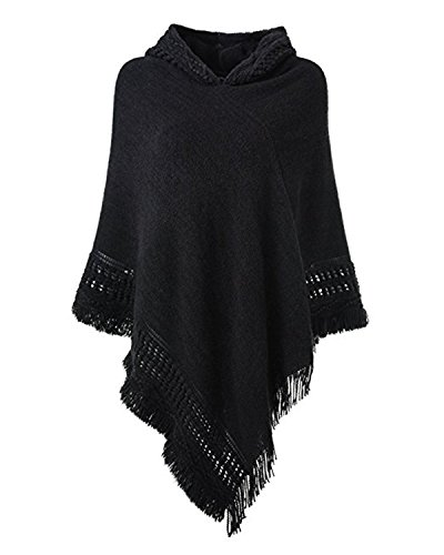 SUNNYME Women Solid Color Poncho Hooded Fringes Crochet Shawl Capes Cover Up Cardigan Black One Size (Turtleneck Poncho)