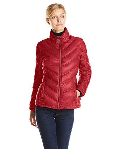Calvin Klein Women's Lightweight Chevron Packable Jacket, Red, Medium