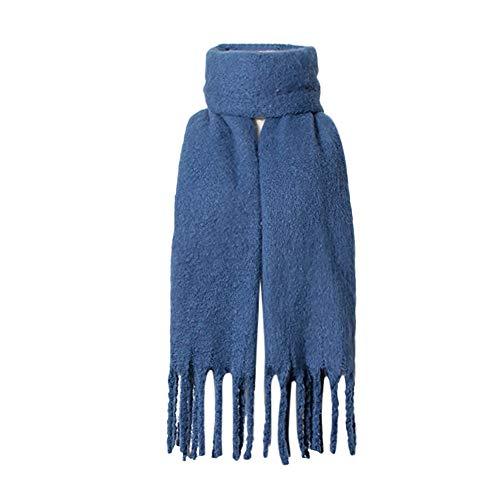 Women Long Winter Big Warm Fashion Tassel Solid Color Scarf Light Scarf Shawls Elegant Soft Classic HunYUN