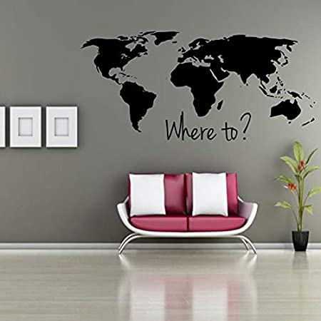 Ajcwhml Pegatinas de Pared Dónde Mapa del Mundo Pegatinas de Pared Decoración para el hogar Sala de Estar Pegatinas de Vinilo DIY calcomanías de Pared removible decoración para el hogar 57: Amazon.es: