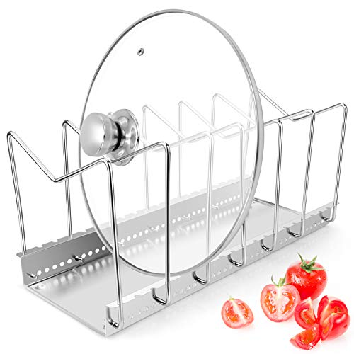 - Stainless Steel Dish Rack Kitchen Pot Pan Lid Cutting Board Adjustable Organizer Holder with Drain Tray for Cabinet and Pantry Storage Organization, 6 Compartments