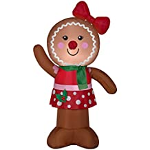 Christmas Inflatable 4' Gingerbread Lady w/ Bow Airblown Holiday Decoration By Gemmy