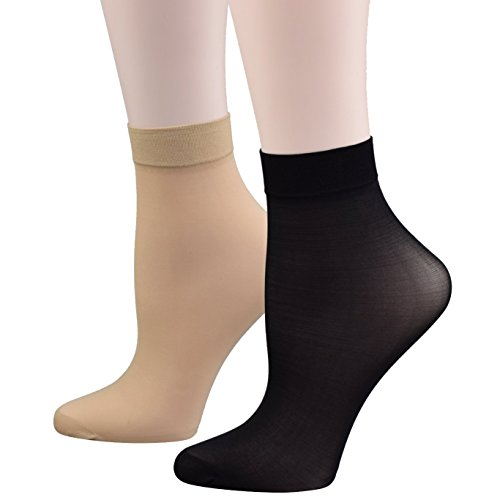 Fitu Women's 10 Pairs Pack Nylon Ankle Tights Hosiery Socks (5 Beige 5 Black)