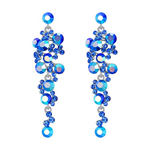 Flyonce Women's Crystal Wedding Bohemian Boho Floral Chandelier Long Dangle Earrings Blue Silver-Tone