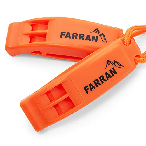 Emergency Safety Whistle Lightweight Plastic Survival Whistles with Clip and Lanyard Good for Car Rescue Gear Walking Hiking Boating Fishing Camping Travel Backpacking (2 Pack) (Orange)
