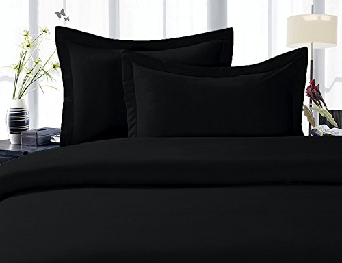 100% Cotton- Duvet Cover Set with Buttons Enclosure, 300TC - Solid Black, King/California King, 3PC Duvet (300tc Duvet Cover Set)