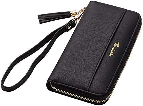 Travelambo Womens Wallet Tassel Bifold Ladies Cluth Wristlet Wrist strap Long Purse (Access Black) ()