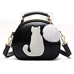 Eyedow eKingdom Outdoor Small Round Bag lovely Cute Cat Hair Bulb PU Leather Handbags Crossbody (Black)