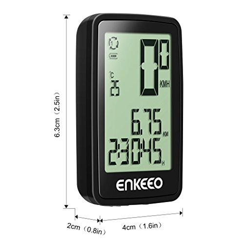 Enkeeo Wired Bike Computer USB Rechargeable Bicycle Speedometer Odometer with 12 Hour Backlight Display, Current/AVG/MAX Speed Tracking, Trip Time/ Distance Recording for Cycling by Enkeeo (Image #1)