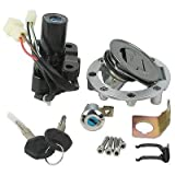 Motorcycle Ignition Switch Set + Tank Gas Cap Cover + Seat Lock + 2 Locking Keys Assembly Set TS-14 Kit Forfor Yamaha YZF R1 / R6 1992-2012
