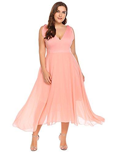 aff4130cd308c Zeagoo Womens Plus Size Bridesmaid Dress Sleeveless V Neck Cocktail Gown  Dress Elegant Party Midi Dress