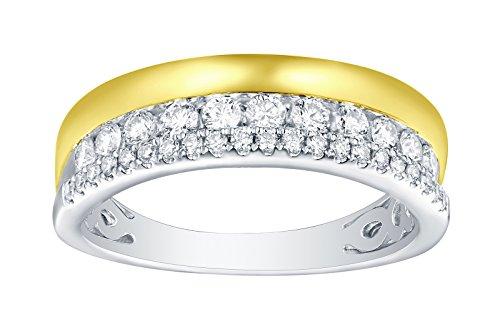 (Prism Jewel 0.50Ct G-H/SI1 Natural Diamond Designer Wedding Band, 18k Two Tone Gold Size 7.5)
