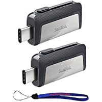 SanDisk Ultra 16GB (Two Pack) Dual Drive USB Type-C (SDDDC2-016G-G46) With Everything But Stromboli Lanyard