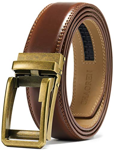 (Men's Leather Ratchet Belt Dress with Slide Click Buckle 1 3/8