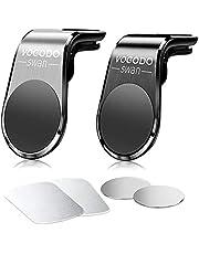 Vogodo Swan Telefoonhouder voor de auto, (2 stuks) universeel, draagbaar, aluminiumlegering, magnetisch, sterk, compatibel met iPhone/Samsung/Huawei etc. (zilver & zwart)