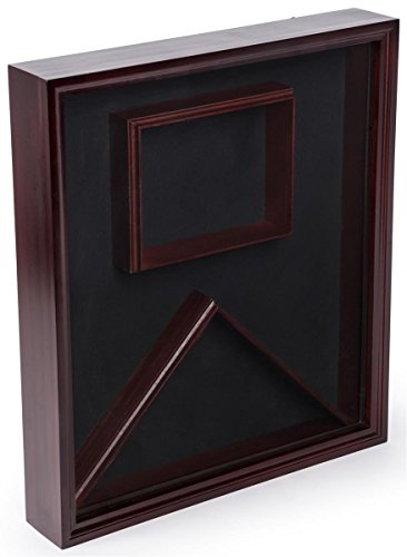 Displays2go, Flag and Certificate Display Case, Wood and Glass Construction, Wall or Countertop Mount – Mahogany Finish (FCC595LAMH) by Displays2go