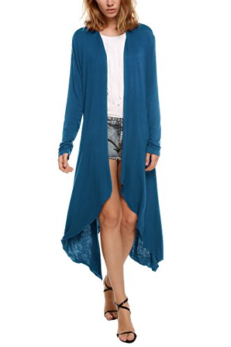 - Meaneor Women's Long Sleeve Waterfall Asymmetric Drape Open Long Maxi Cardigan,  Medium, Teal