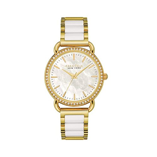 Bulova Women's Quartz Stainless Steel and Ceramic Casual Watch, Color:Two Tone (Model: 44L172)