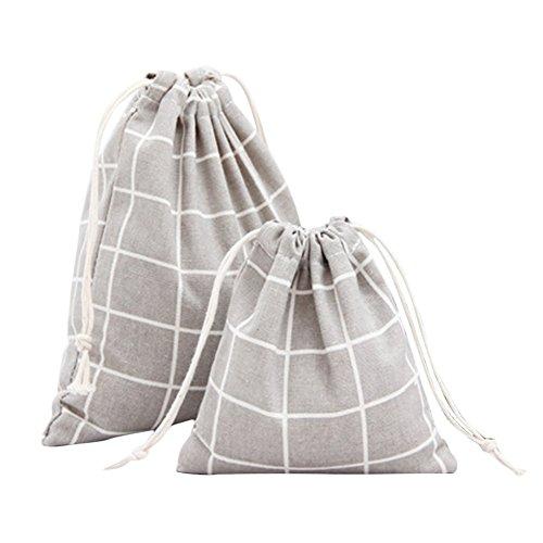 (2Pcs Da.Wa Large Capacity Cotton Linen Storage Organizier Drawstring Bag for Clothes Debris Footwear Candy Cosmetics Postcards Medicine (Grey))