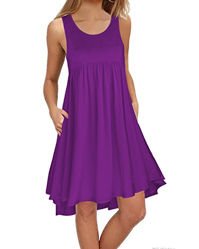 KILIG Women's Sleeveless Pockets Casual Loose Swing Flare Dress(Purple, - Dress Flare Sleeveless