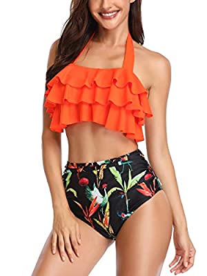 Royalove Womens Two Piece Ruffled Flounce High Waisted Printed Bikini Set Swimwear Swimsuits