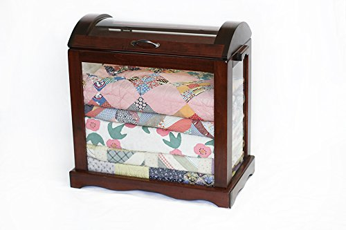 Cherrywood and Curved Glass Quilt Chest