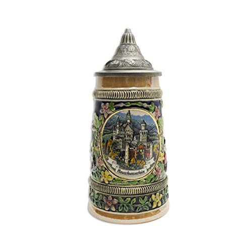 Stein Tall Lidded - Beer Stein Neuschwanstein Ludwig Castle Lidded Beer Mug by E.H.G | .55 Liter