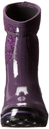 Plimsoll Winter Quilted Snow Floral Bogs Plum Women's Mid Boot AaxUSw