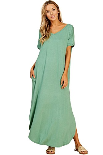 (Women's Long Split Maxi Dress Casual Loose V Neck Short Sleeve Beach with Pockets - Sage (3X))