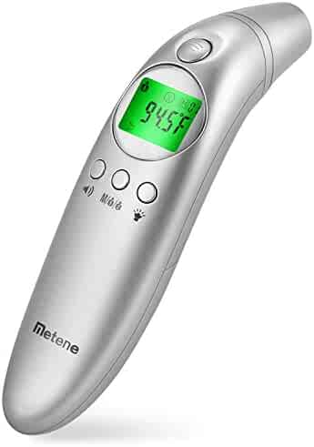 Metene Forehead and Ear Digital Thermometer, Non-Contact Thermometer with Fever Alarm and Easy Accuracy, for Baby, Adult and Family Care with FDA Approved
