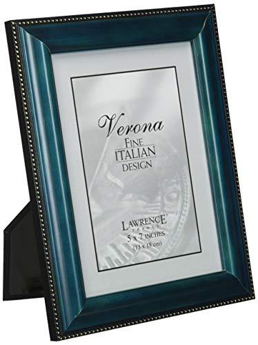 (Lawrence Frames Blue Wood 5x7 Picture Frame - Gold Bead Design )