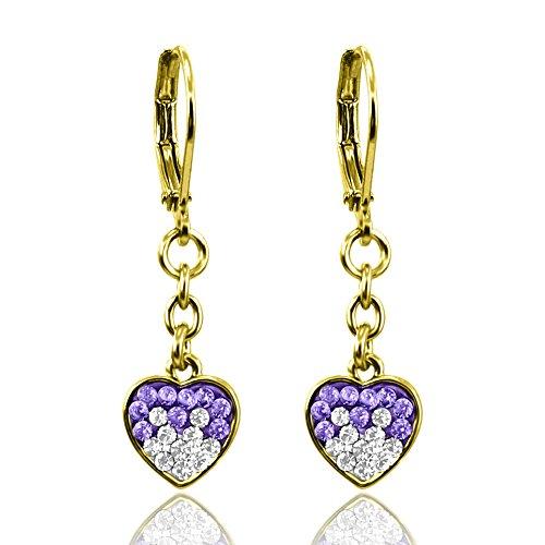 Heart Earrings For Women Gold Plated Two Tone Crystal Earrings - Pave Heart Hoop Earrings For Women & Heart Earrings For Teens Secure Leverback Earrings Mothers Day Gifts Dainty Earrings for Women