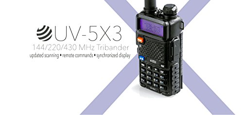 BTECH UV-5X3 5 Watt Tri-Band Radio VHF, 1.25M, UHF, Amateur (Ham), Includes Dual Band Antenna, 220 Antenna, Earpiece, Charger, and More