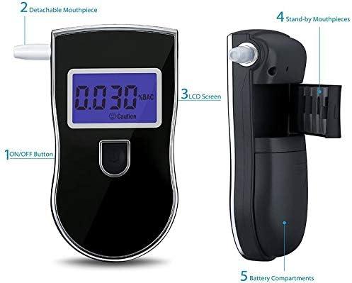 Homologu/é Affichage Pr/écise 3 Unit/és YINGEET Ethylotest Electronique//Alcootest Portable avec /Écran LCD Bleu Test Alcool/émie 5 Embouts