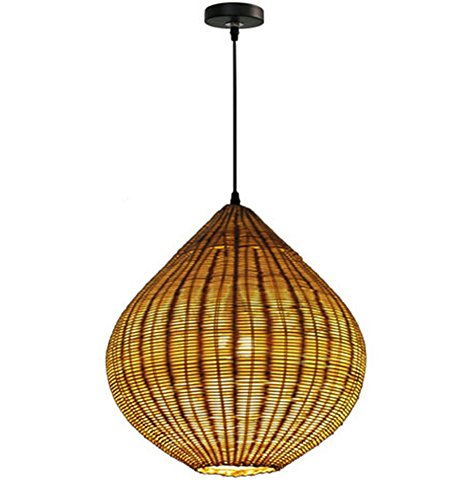 GRFH Natural Bamboo Rattan Handmade Creative Personality Chandelier Retro Rattan Craft Single Pendant Lamp Bedroom Bar Counter Website Diameter 40Cm E27 110V 220V (Ochre Candle Holder)