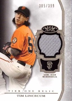 Only 399 made! 2013 Topps Tier One Relics #TOR-TL Tim Lincecum Game Worn Jersey Baseball Card