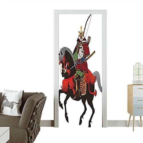 3D Door Decals Shogun Wearing Armour with Arrow on Prancing Horse Courage in Warfare Illustrat Self Adhesive Door DecalW38.5 x H77 INCH