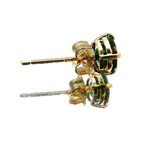 Or jaune 9 carats-Émeraude-Boucles d'oreilles clous rondes 5 mm-mai Birthstone