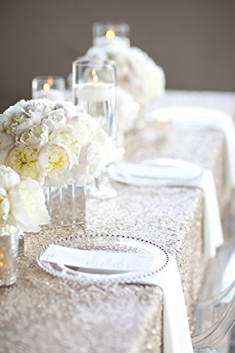 LQIAO 10PCS 90x132-Inch Rectangle Sequin Tablecloth-Champagne Blush for Lavender Wedding Party Decoration by LQIAO (Image #1)