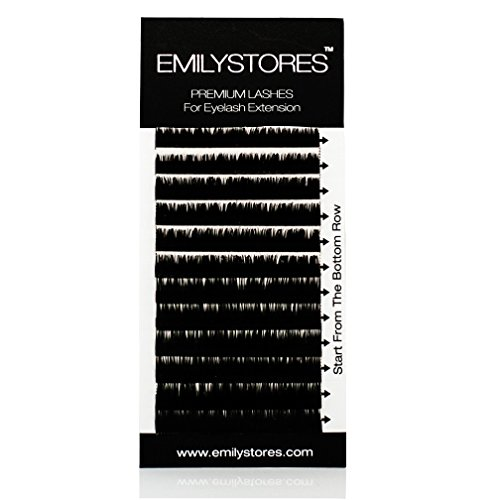 EMILYSTORES Eyelash Extensions 100% Real Siberian Mink Fur Lashes J Curl Mixed Size 8mm 9mm 10mm 12mm 14mm Long Assort Mixed In One Tray