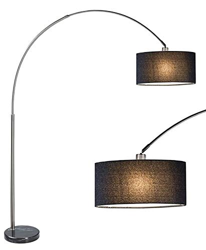 (SH Lighting 6938BK - Brush Steel Arching Floor Lamp with Black Marble Base - Features Large Black Drum Style Shade - 81